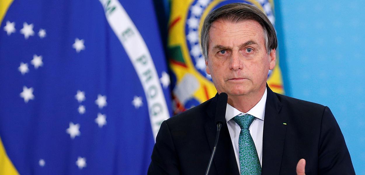 Presidente Jair Bolsonaro durante cerimônia no Palácio do Planalto.