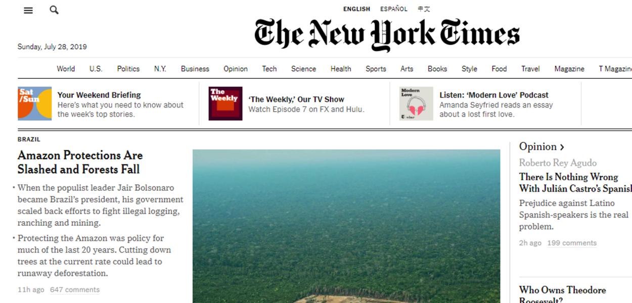 Resultado de imagem para new york times bolsonaro amazônia