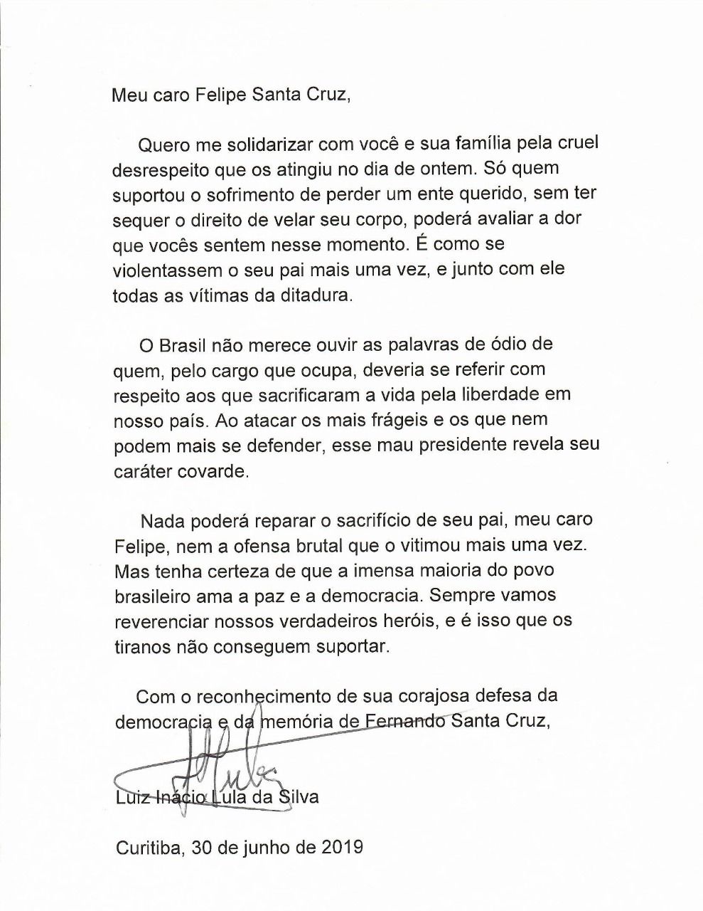 Letter from Lula to Felipe Santa Cruz, President of the Brazilian Bar Association