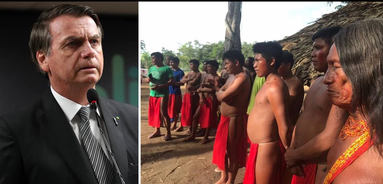 Jair Bolsonaro e índios Wajapi, do Amapá.