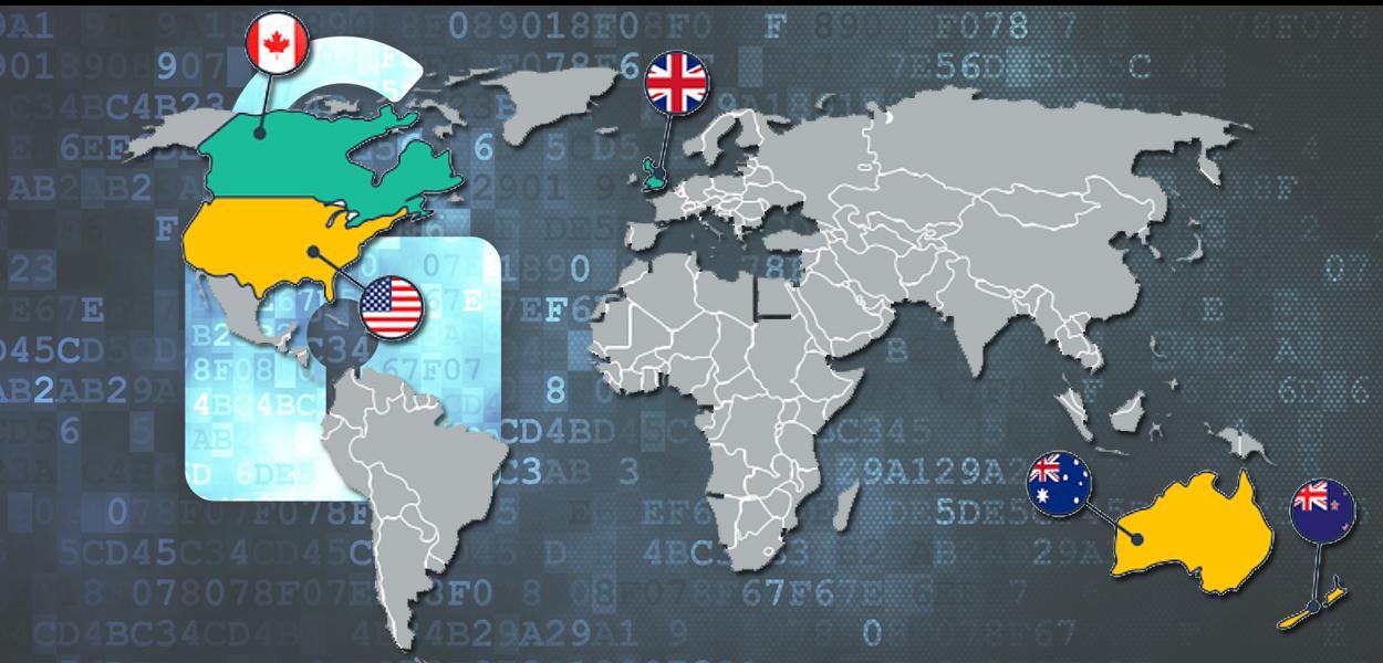 Os chamados 'Five Eyes', formado por Estados Unidos, Reino Unido, Canadá, Austrália e Nova Zelândia.