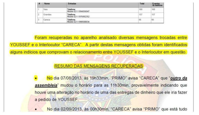 Relatório da PF na Lava Jato indicando recuperação de mensagens do Telegram