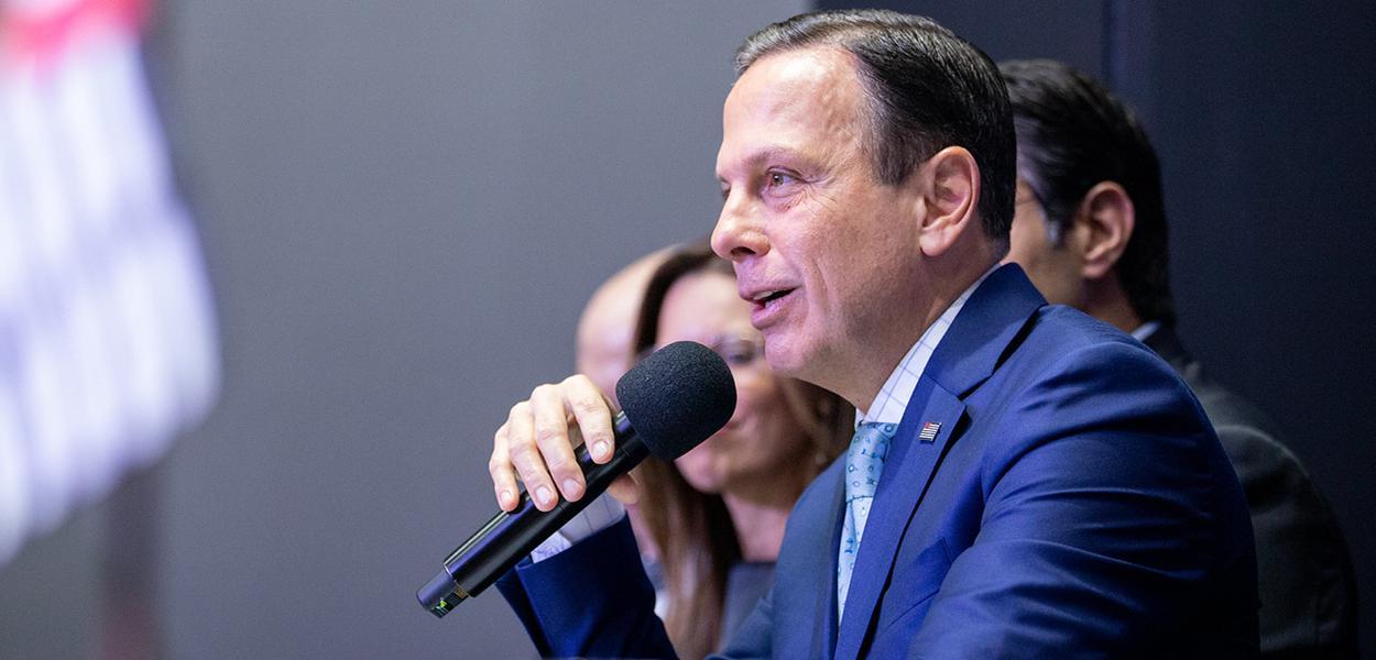 Governador do Estado de São Paulo, João Doria participa da coletiva de imprensa