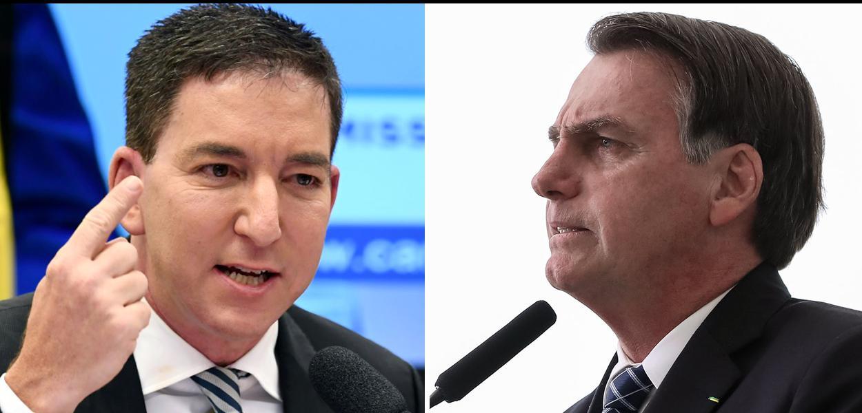 Jornalista Glenn Greenwald, do Intercept Brasil, e Jair Bolsonaro (PSL).