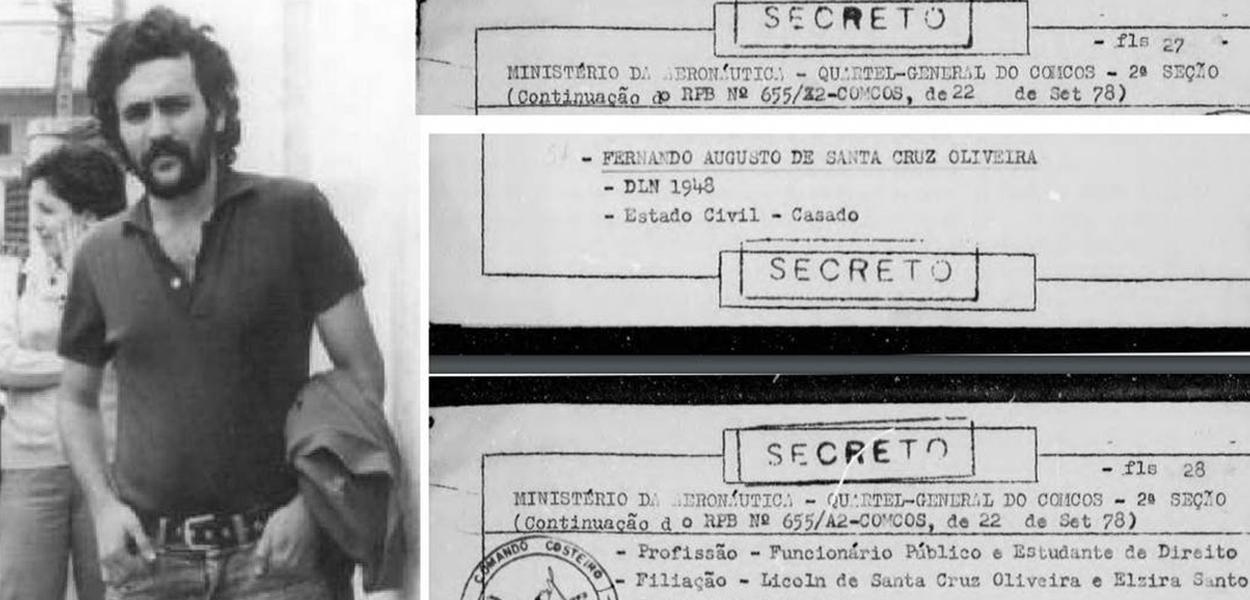 Fernando Augusto de Santa Cruz Oliveira, desaparecido em 1974, durante a ditadura militar e documento que informa data de sua prisão.