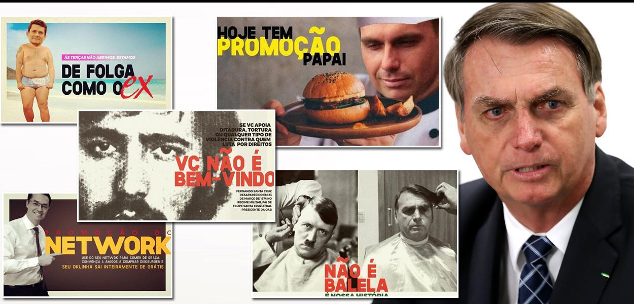 Hamburgueria Disk Burger, em Maceió (AL), e diversas promoções sobre o governo Bolsonaro.