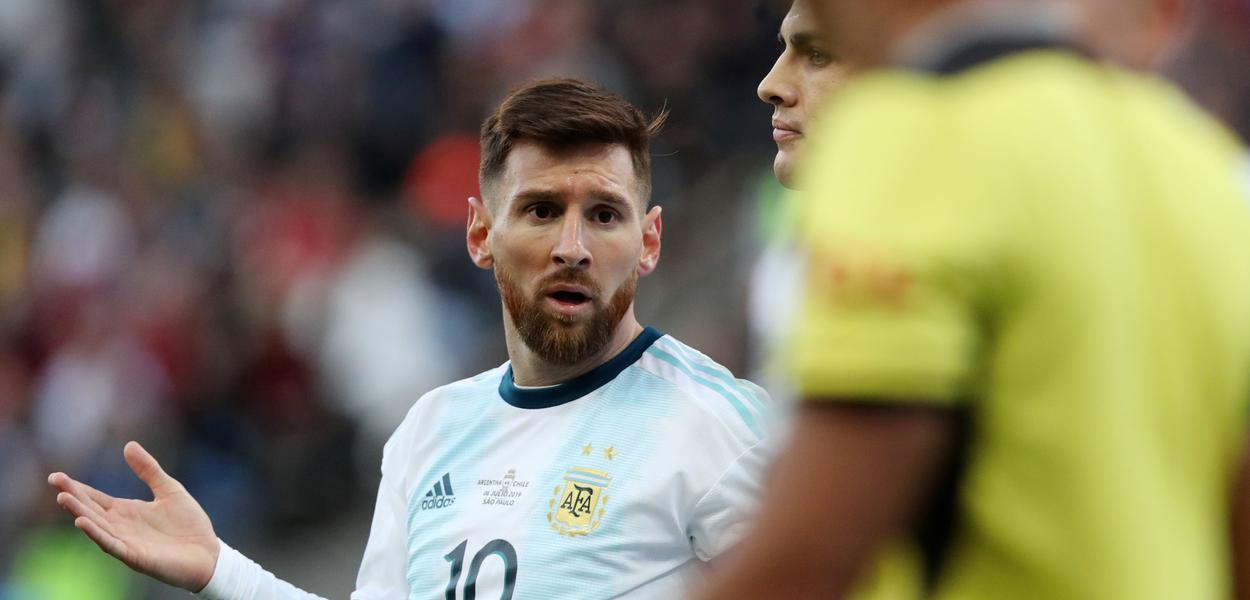 Meia argentino argentino Lionel Messi.