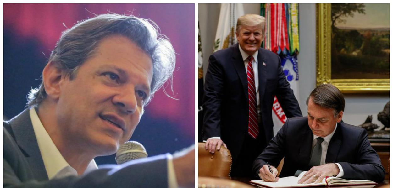 Fernando Haddad, Donald Trump e Jair Bolsonaro