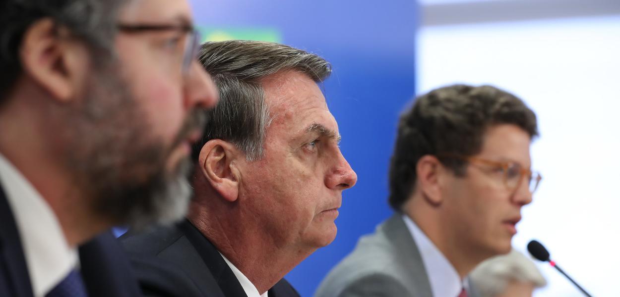 Brasília - Jair Bolsonaro, Ricardo Salles e Ernesto Araújo