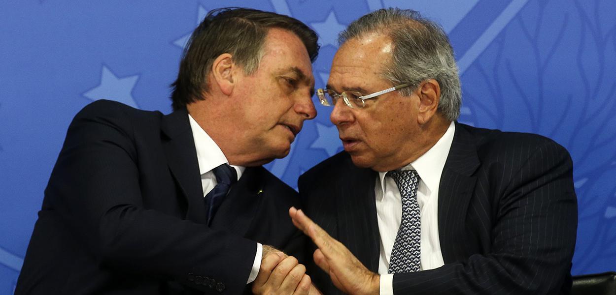 Jair Bolsonaro e o ministro da Economia, Paulo Guedes.