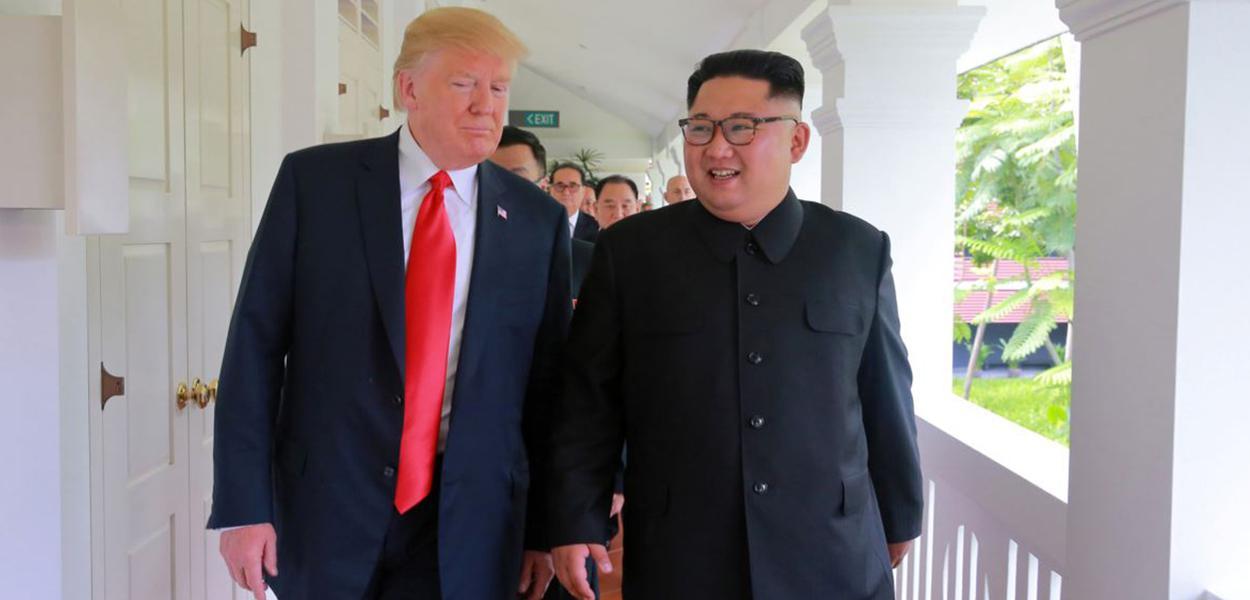 """O presidente norte-americano também havia dito que seu relacionamento com Kim Jong-un estava """"bom"""""""