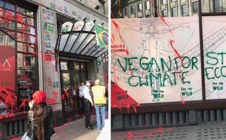 Embaixada do Brasil em Londres é alvo de protesto diante de políticas ambientais de Bolsonaro.