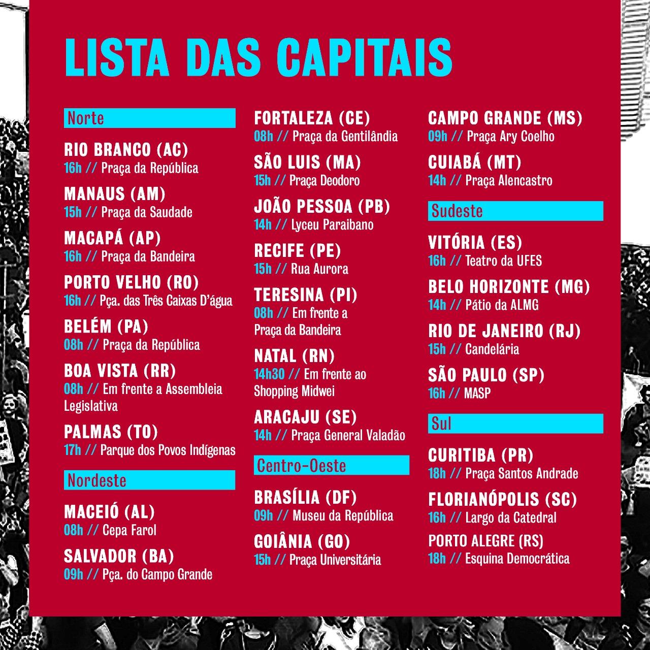 Lista de manifestaçõe nas capitais