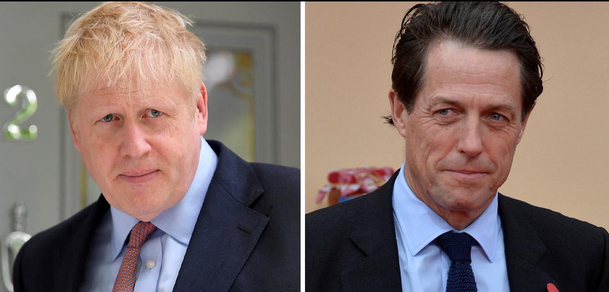 Ator Hugh Grant e premiê britânico Boris Johnson.