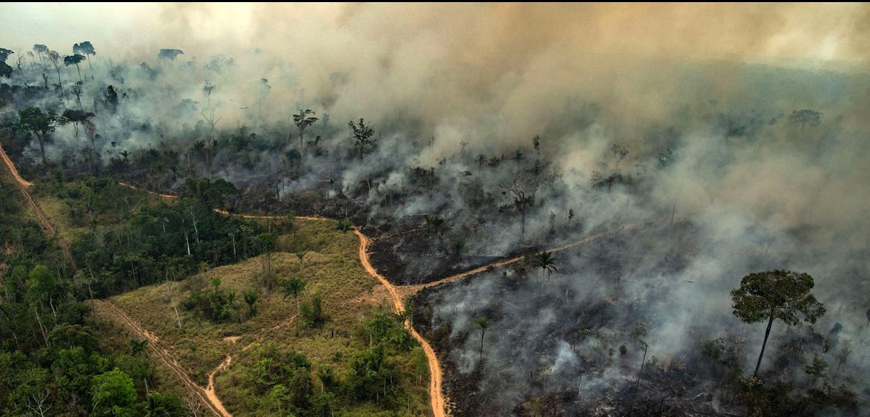 ALTAMIRA, PARA, BRAZIL: Aerial image of burning in Altamira, state of Pará.