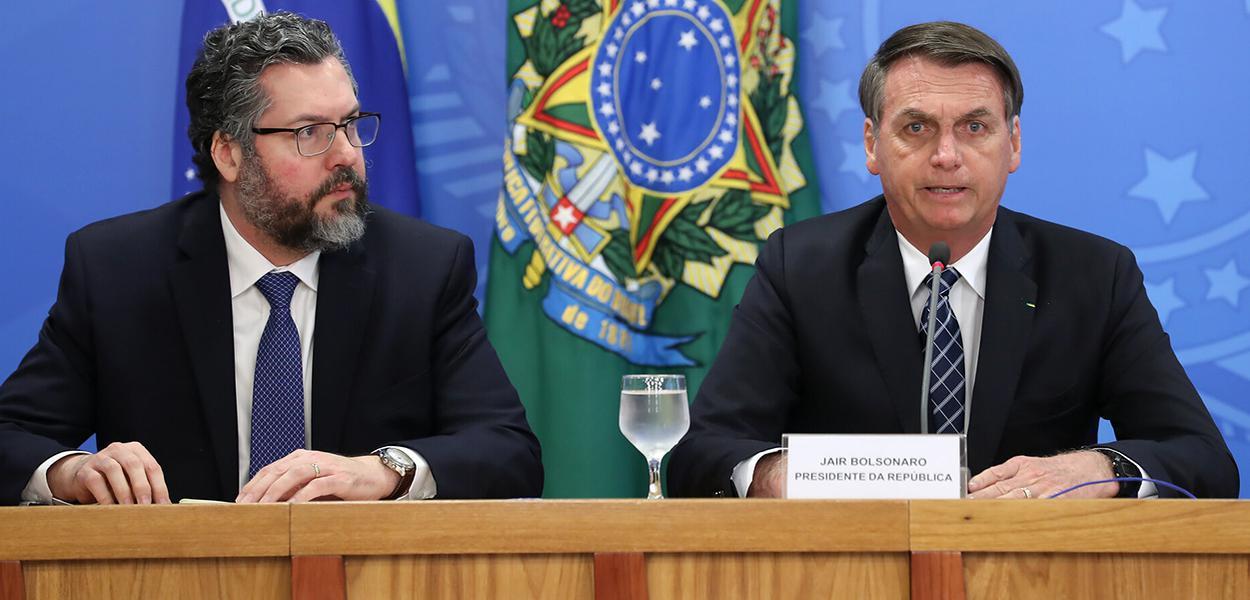Ministro de Estado das Relações Exteriores, Ernesto Araújo e Jair Bolsonaro