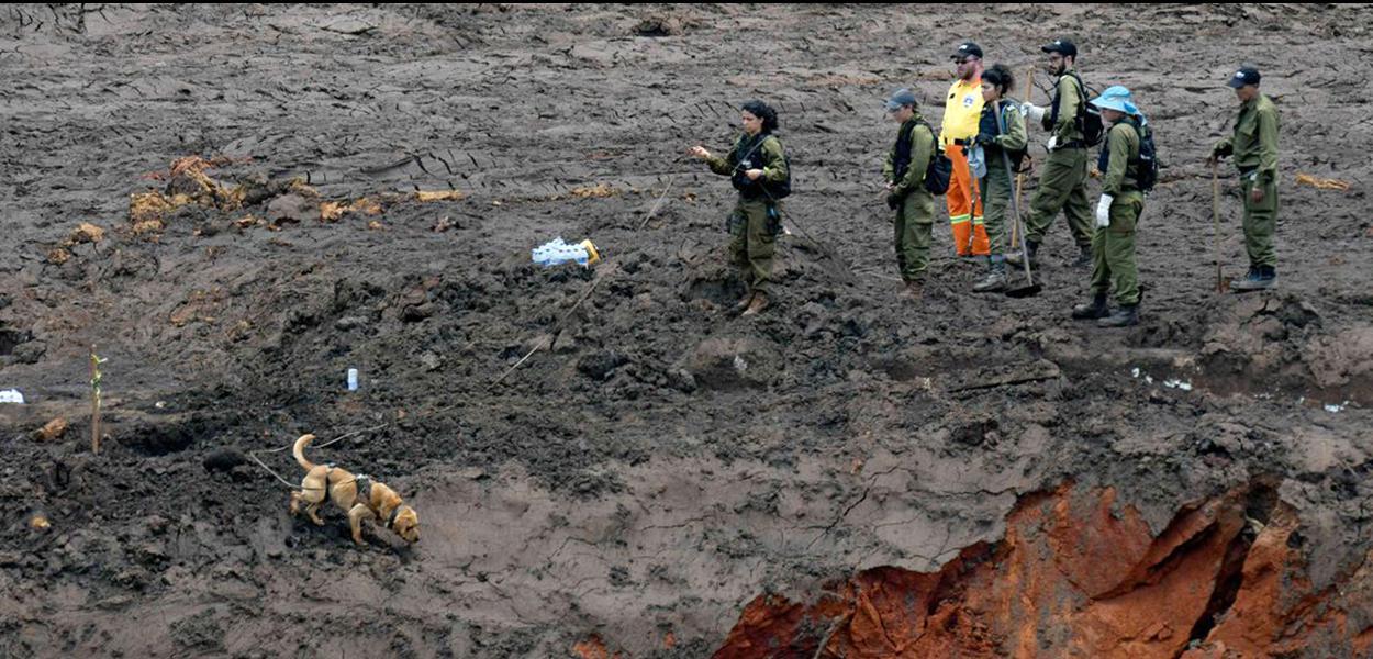 Militares israelenses e equipes de resgate brasileiras durante buscas por vítimas em Brumadinho, onde uma barragem da mineradora Vale se rompeu.