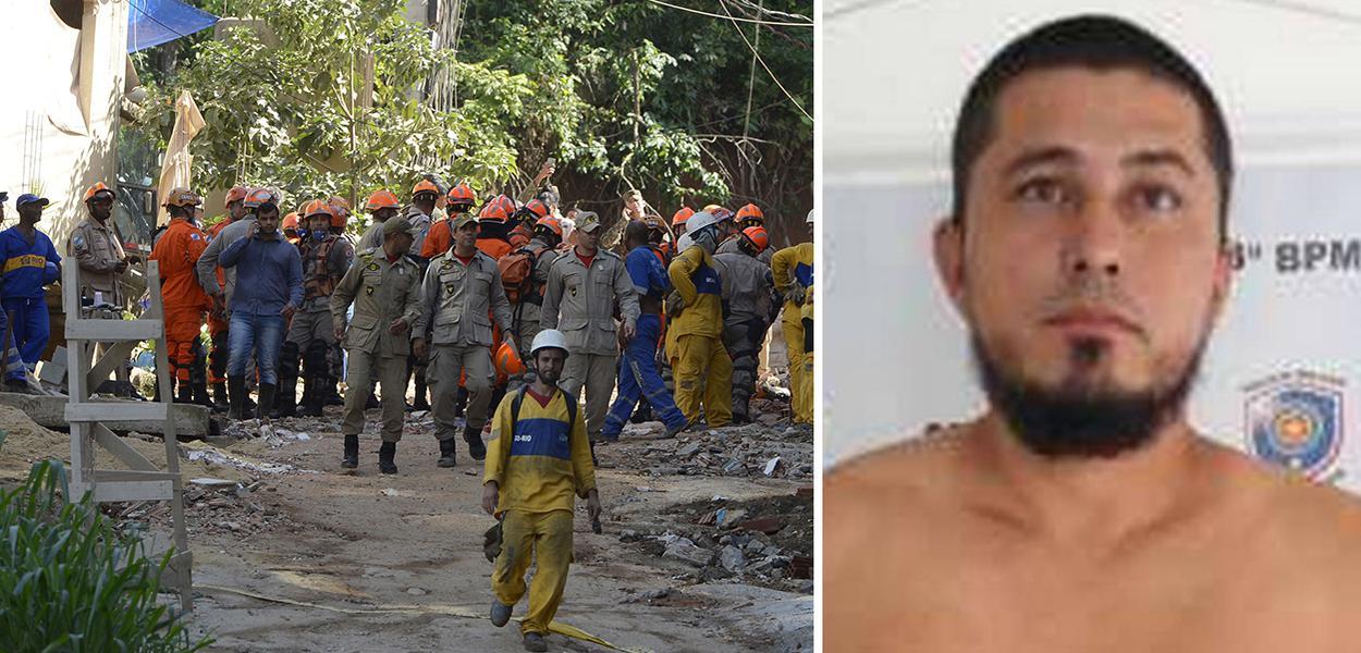 Equipes que atuam na busca e resgate de pessoas após o desabamento dos dois prédios na comunidade da Muzema.