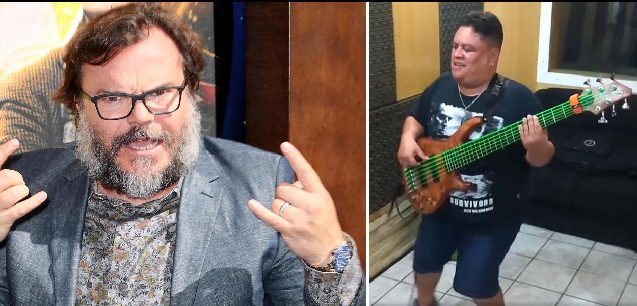O ator e músico Jack Black e o baixista potiguar Júnior Groovador