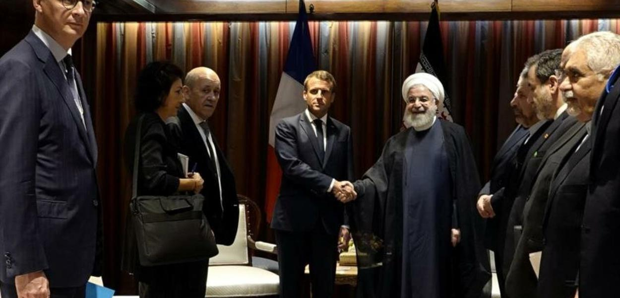 Rohani (Irã) e Macron (França)
