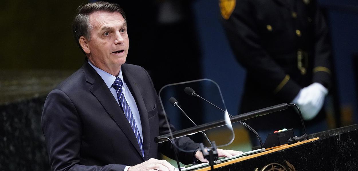 O presidente Jair Bolsonaro durante discurso na 74ª Assembleia Geral das Nações Unidas (ONU)