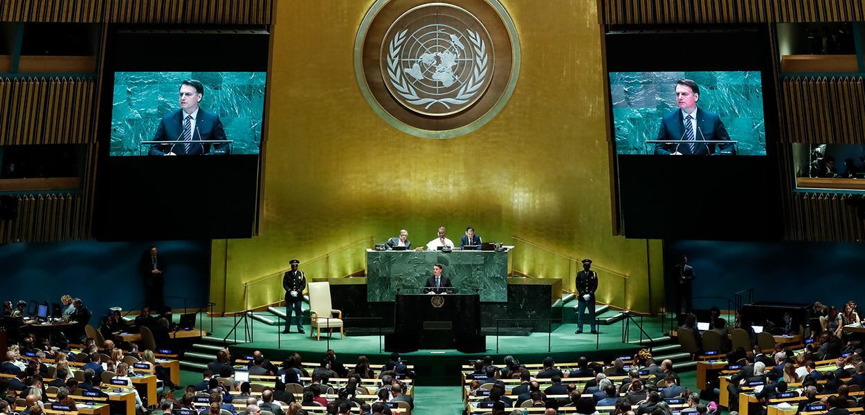 Jair Bolsonaro discursa durante o Debate Geral da 74ª Sessão da Assembleia Geral das Nações Unidas