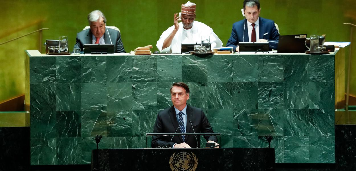 (Nova York - EUA, 24/09/2018) Presidente da República, Jair Bolsonaro, discursa durante a abertura do Debate Geral da 74ª Sessão da Assembleia Geral das Nações Unidas (AGNU). \rFoto: Alan Santos/PR