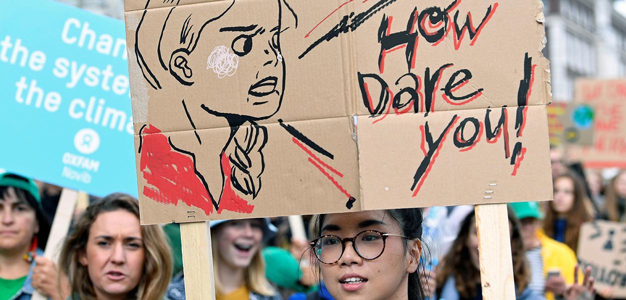 Protesto contra a mudança climática em Haia
