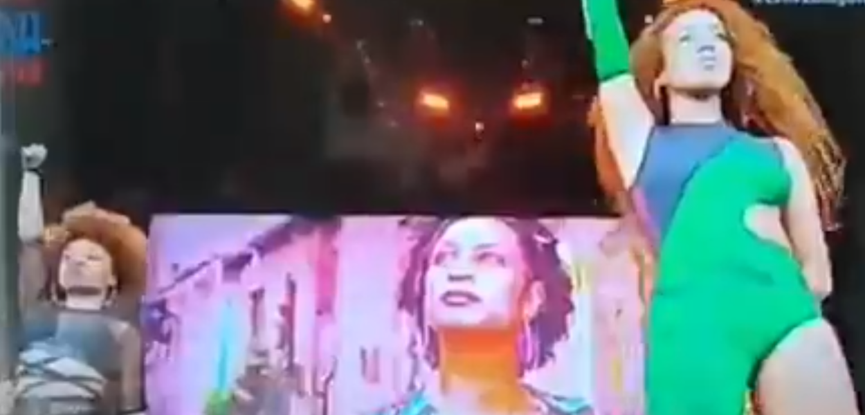 Lellê abre show Rock in Rio com fala de Marielle Franco no telão.