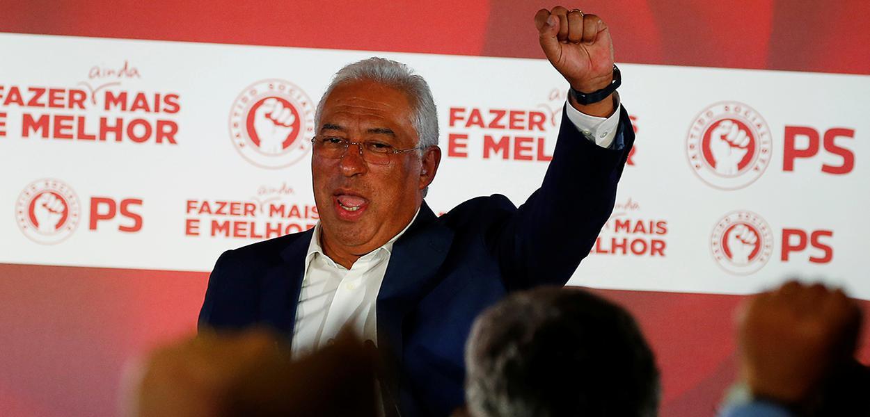 António Costa comemora vitória na eleição de Portugal