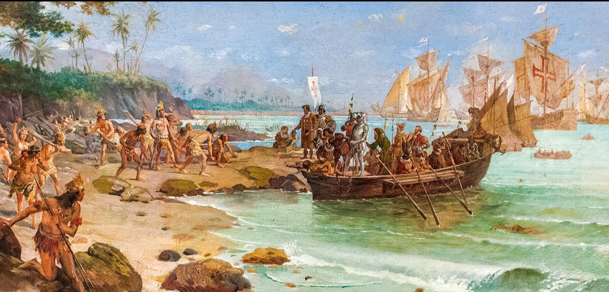 Desembarque de Pedro Álvares Cabral em Porto Seguro no ano de 1500