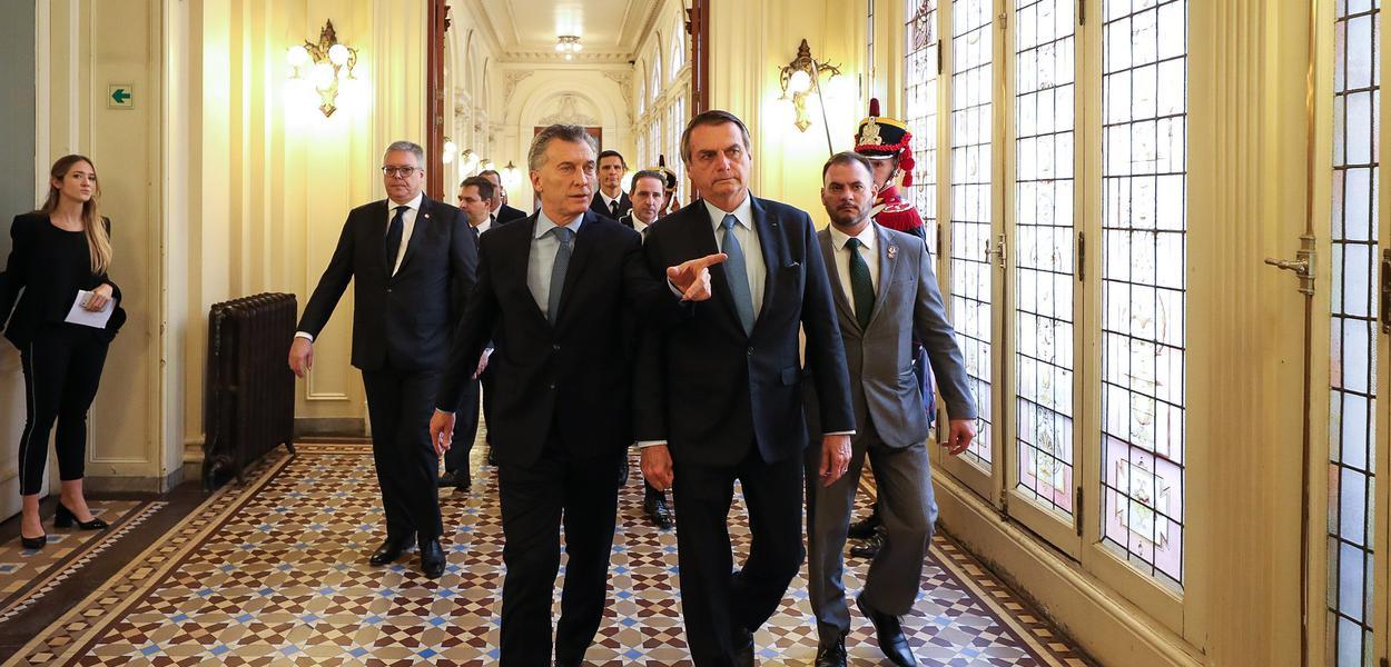 Mauricio Macri e Jair Bolsonaro em Buenos Aires, Argentina.