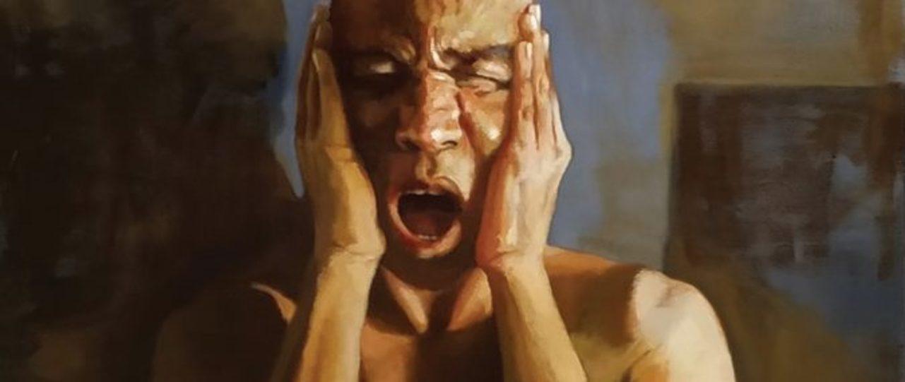"""""""80 tiros!"""", Mazé Leite, óleo sobre tela, 70x50cm, 2019)"""