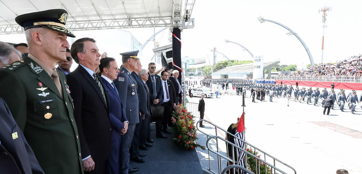 Doria e Bolsonaro participam de cerimônia da PM