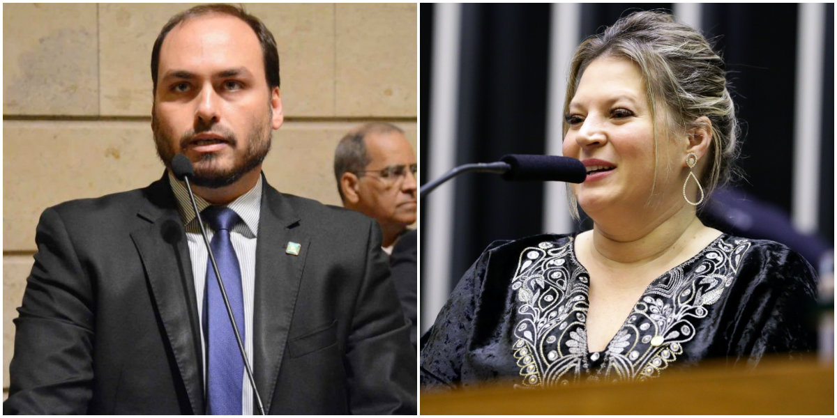 Carlos Bolsonaro e Joice Hasselmann