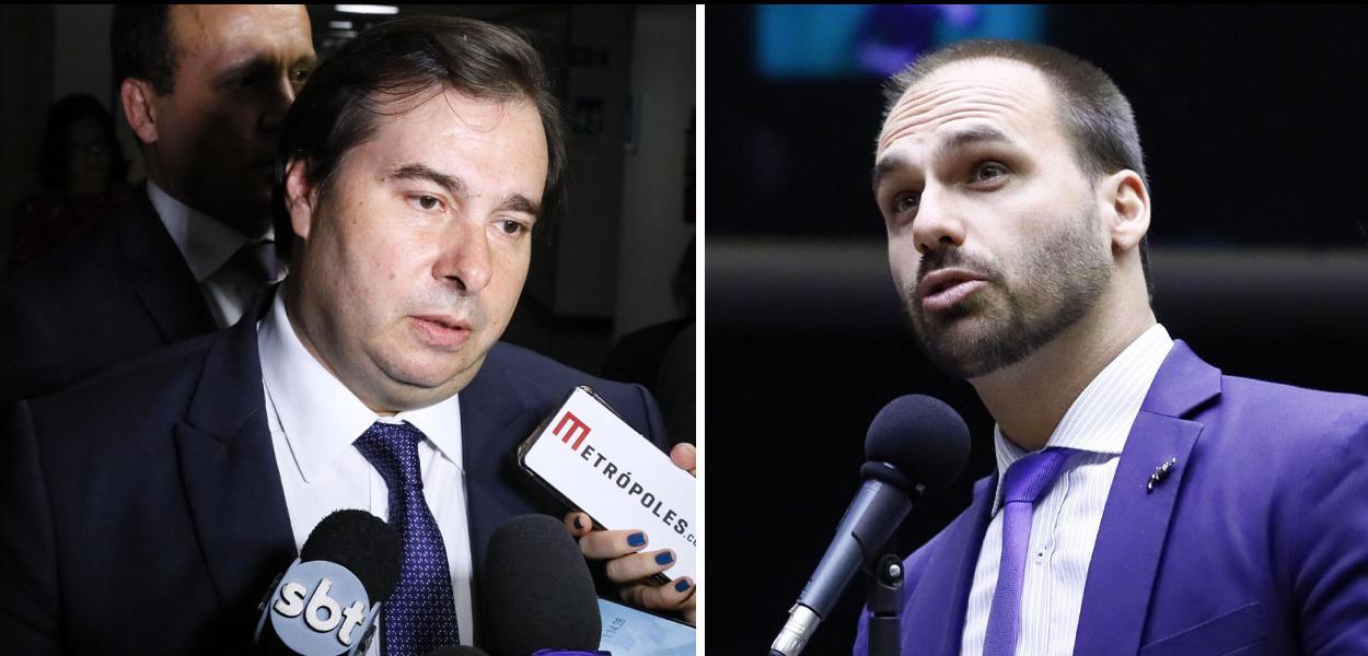 Deputados Rodrigo Maia (DEM) e Eduardo Bolsonaro (PSL)