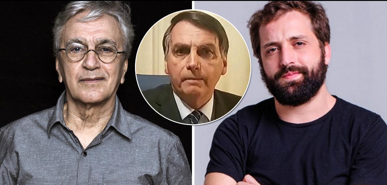Caetano Veloso, Jair Bolsonaro e Gregório Duvivier