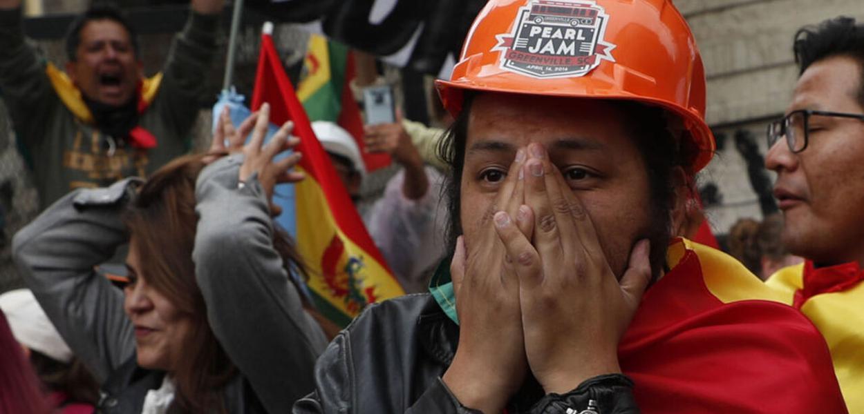 Manifestantes na Bolívia
