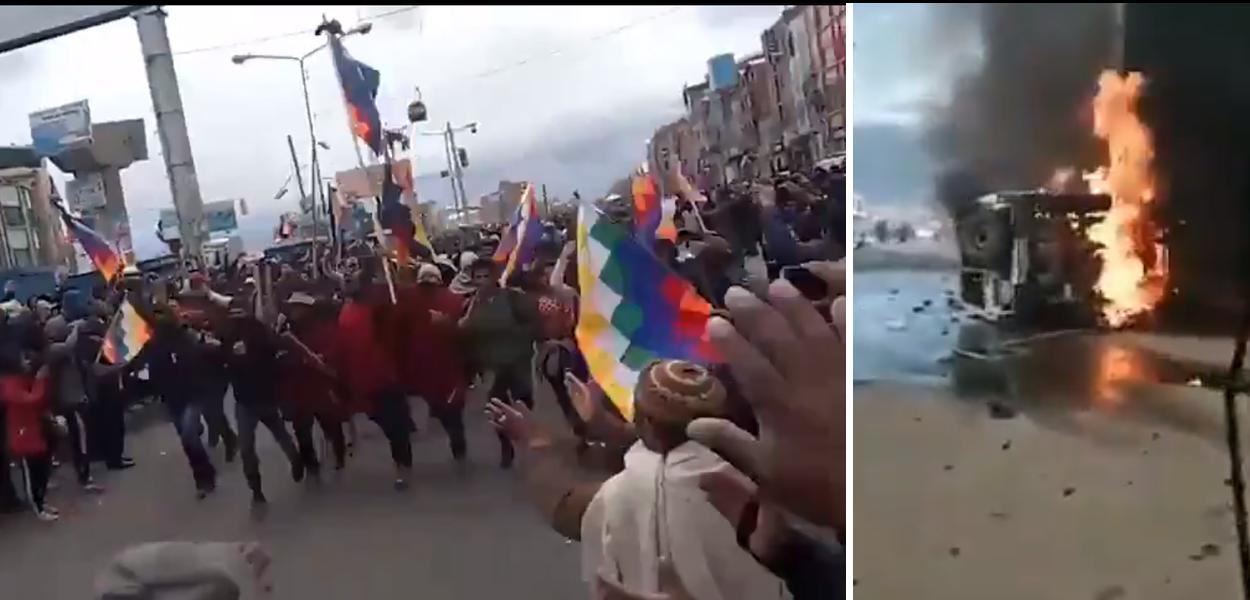 Apoiadores de Evo Morales protestam em La Paz
