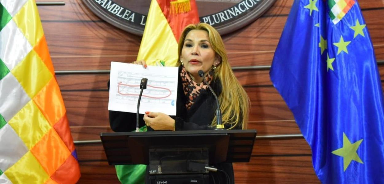 A presidente autoproclamada da Bolívia, Jeanine Añez