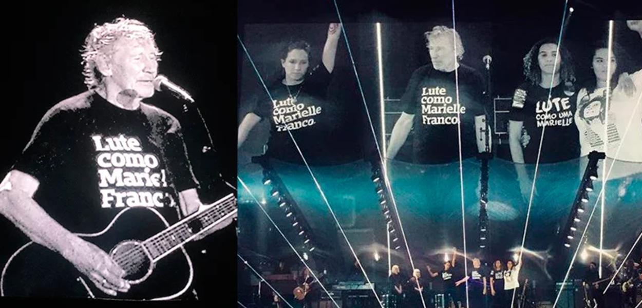Cantor Roger Waters vestindo camiseta em homenagem a Marielle Franco