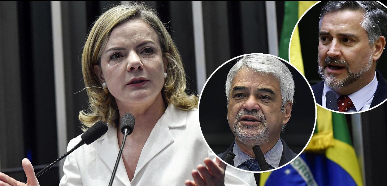 Presidente do PT, Gleisi Hoffmann, e líderes Humberto Costa e Paulo Pimenta