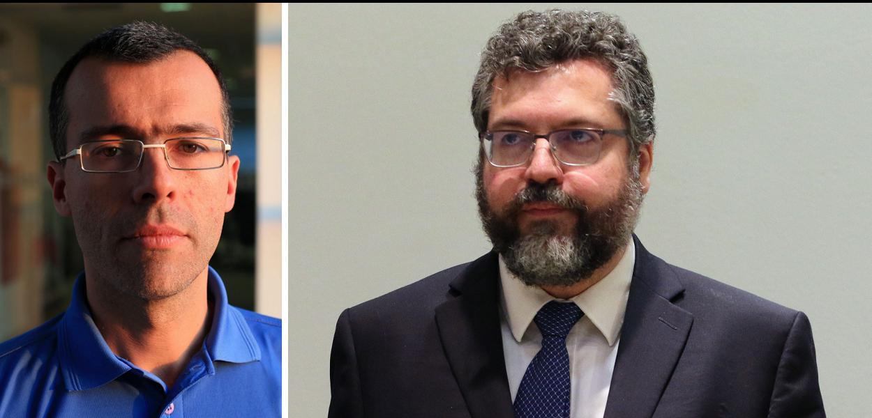 Jornalista Jamil Chade e o chanceler Ernesto Araújo
