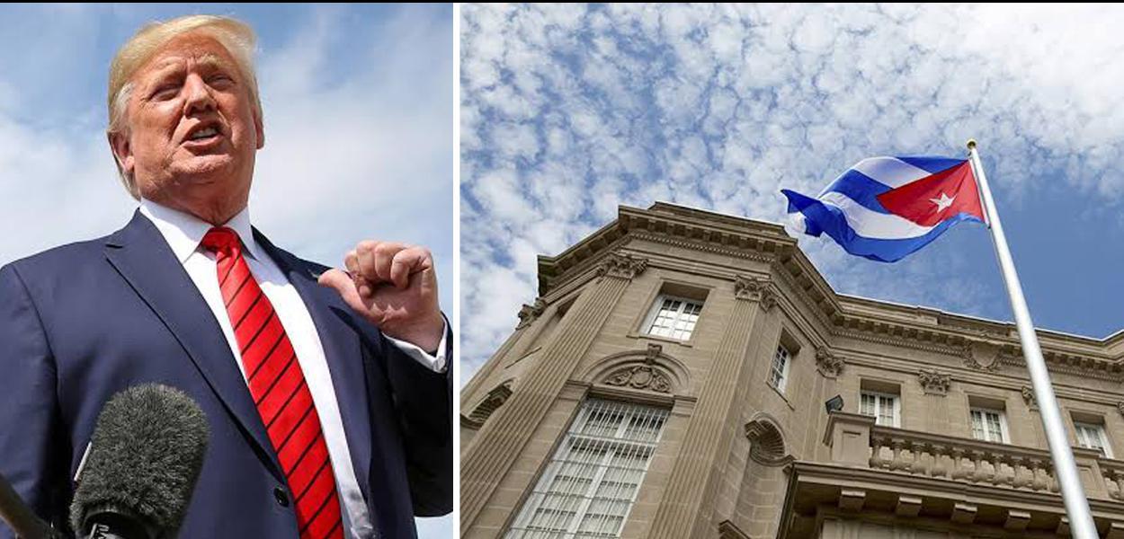 Donald Trump e a bandeira de Cuba