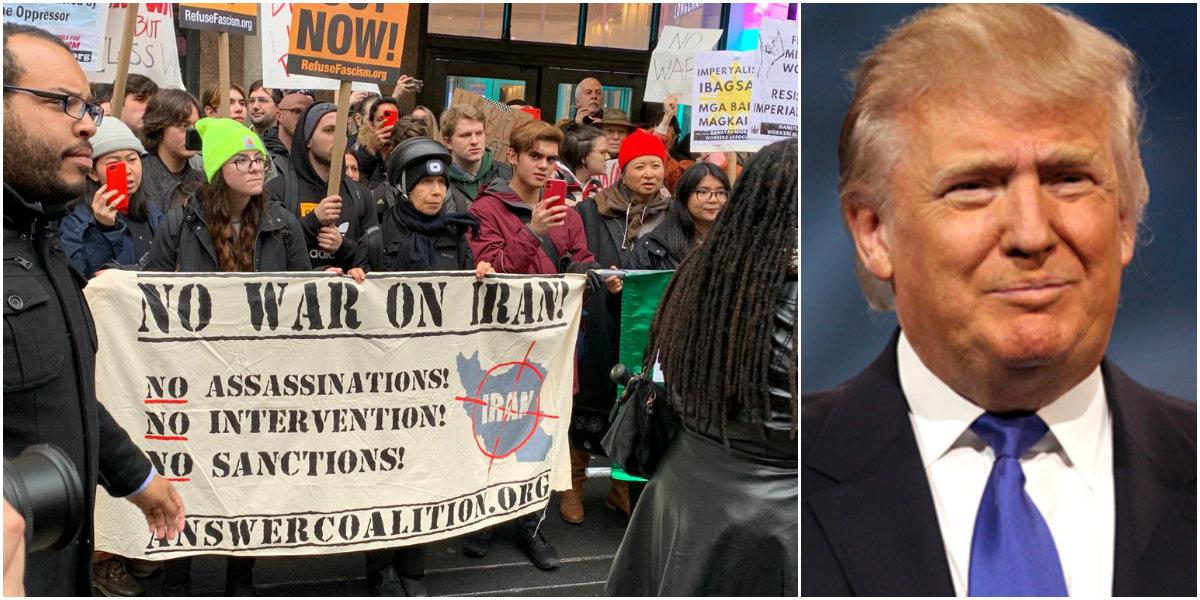 Americanos protestam contra ataque de Trump a Irã e Iraque