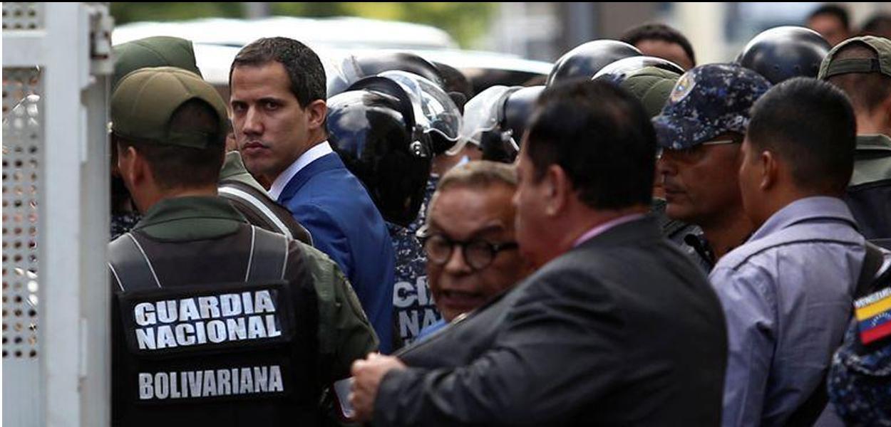 Guaidó chega para cerimônia no Congresso em Caracas 05/01/2020