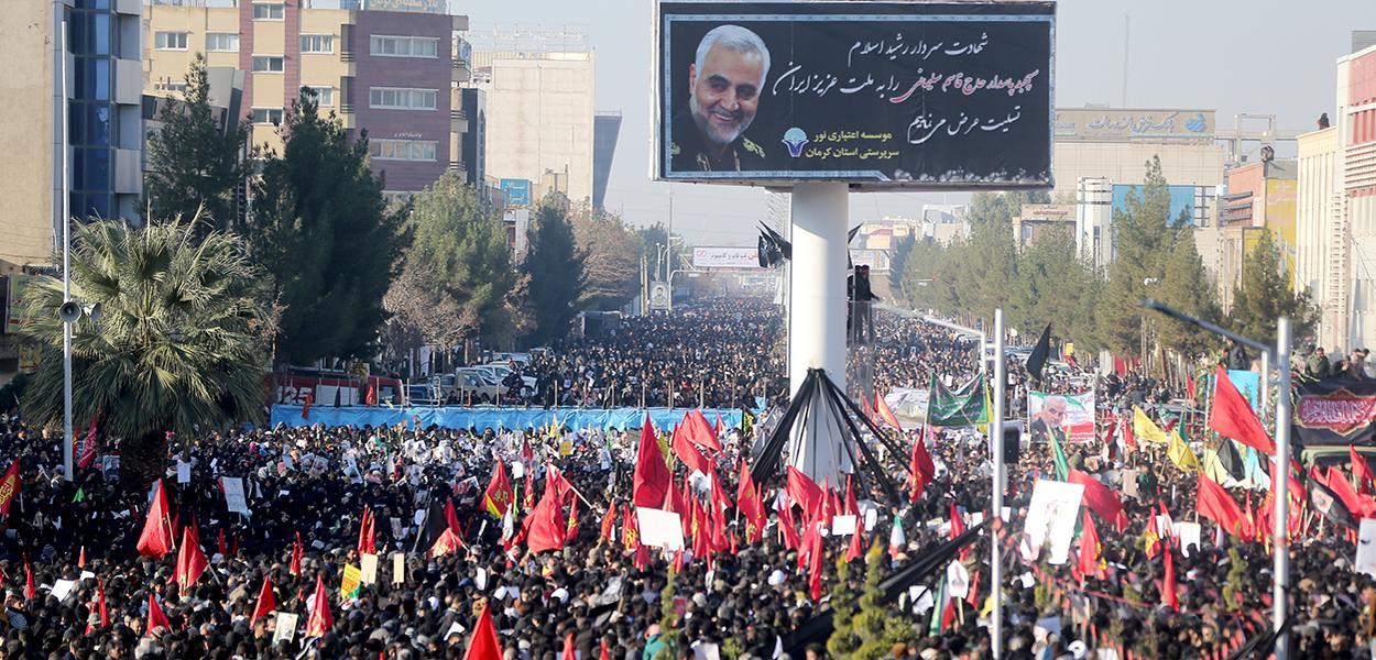 Funeral de Qassem Soleimani em Kerman, no Irã.