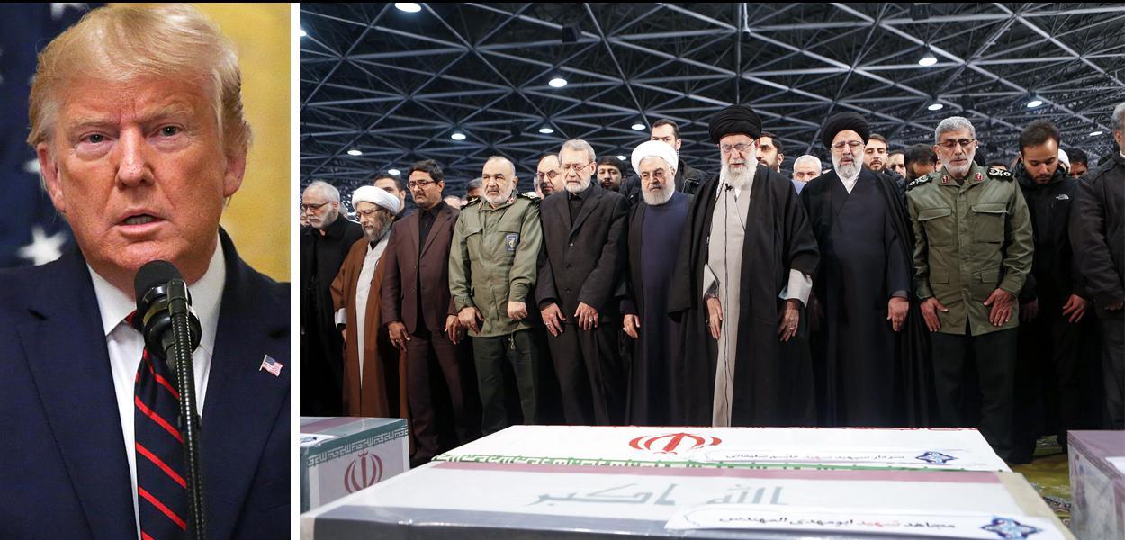 O Líder Supremo iraniano Aiatolá Ali Khamenei (terceiro à esquerda), o presidente Iraniano Hassan Rouhani e o presidente do Parlamento iraniano, Ali Larijani (esquerda) na cerimônia funerária, em Teerã, de Qasem Soleimani