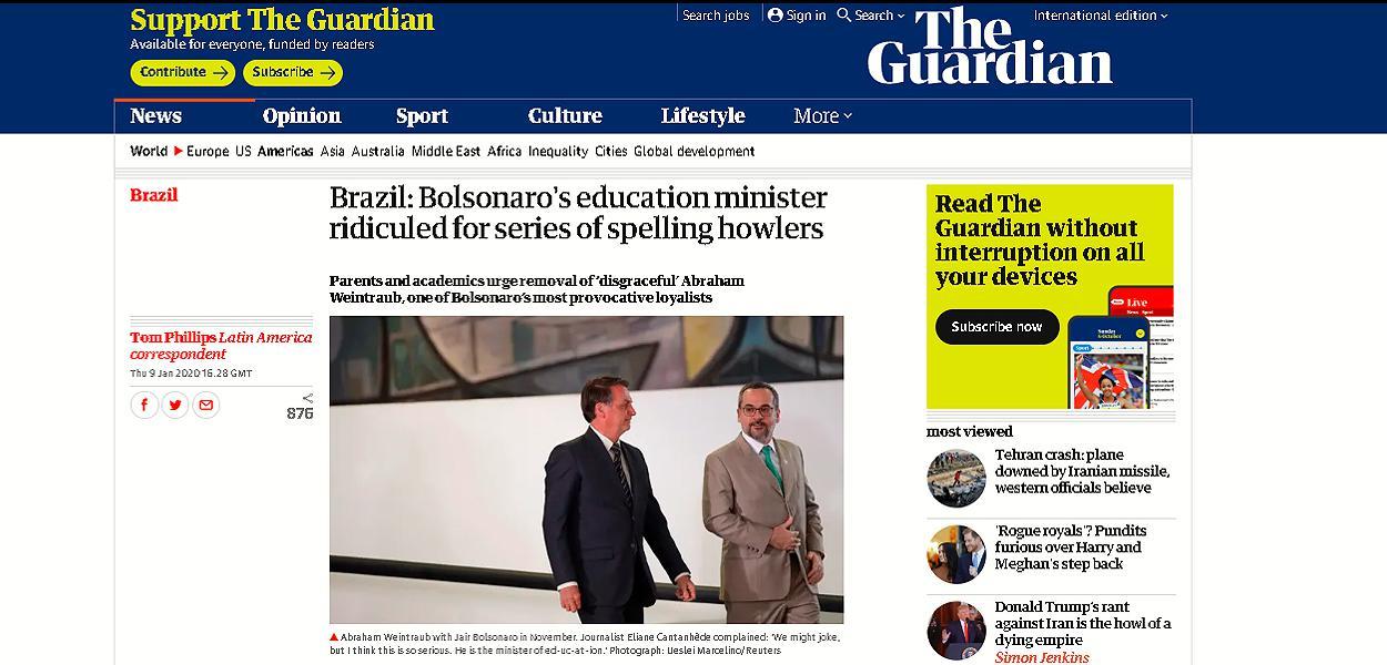 The Guardian destaca erros ortográficos de Abraham Weintraub