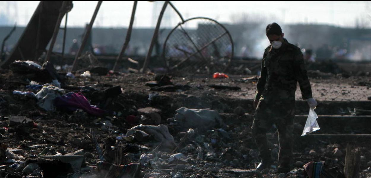 Local da queda do Boeing 737 do voo PS752 Teerã-Kiev nos arredores do Aeroporto Internacional Imã Khomeini na capital iraniana, Teerã.